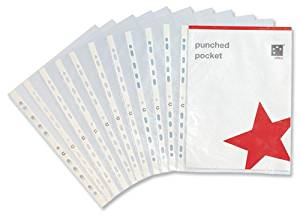 5 Star Office Punched Pocket Polypropylene Top-opening 50 Micron A4 Clear [Pack 100]