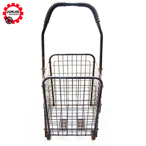 Household Shopping Trolley Easy Carrying Iron Folding Shopping Cart