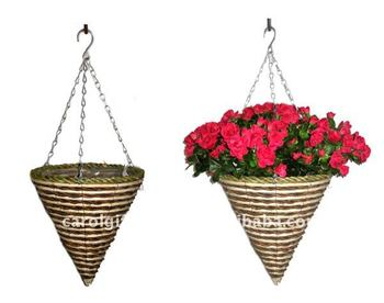 Banana Leaf And Corn Rope Cone Hanging Planter Basket