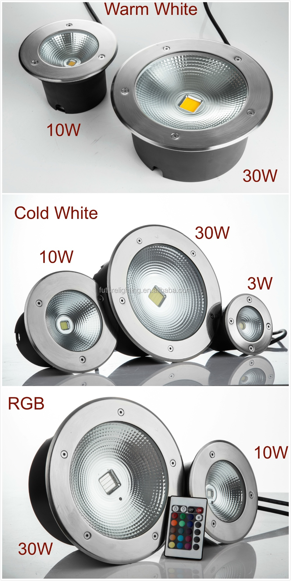 Warm White Cold White RGB Led underground light