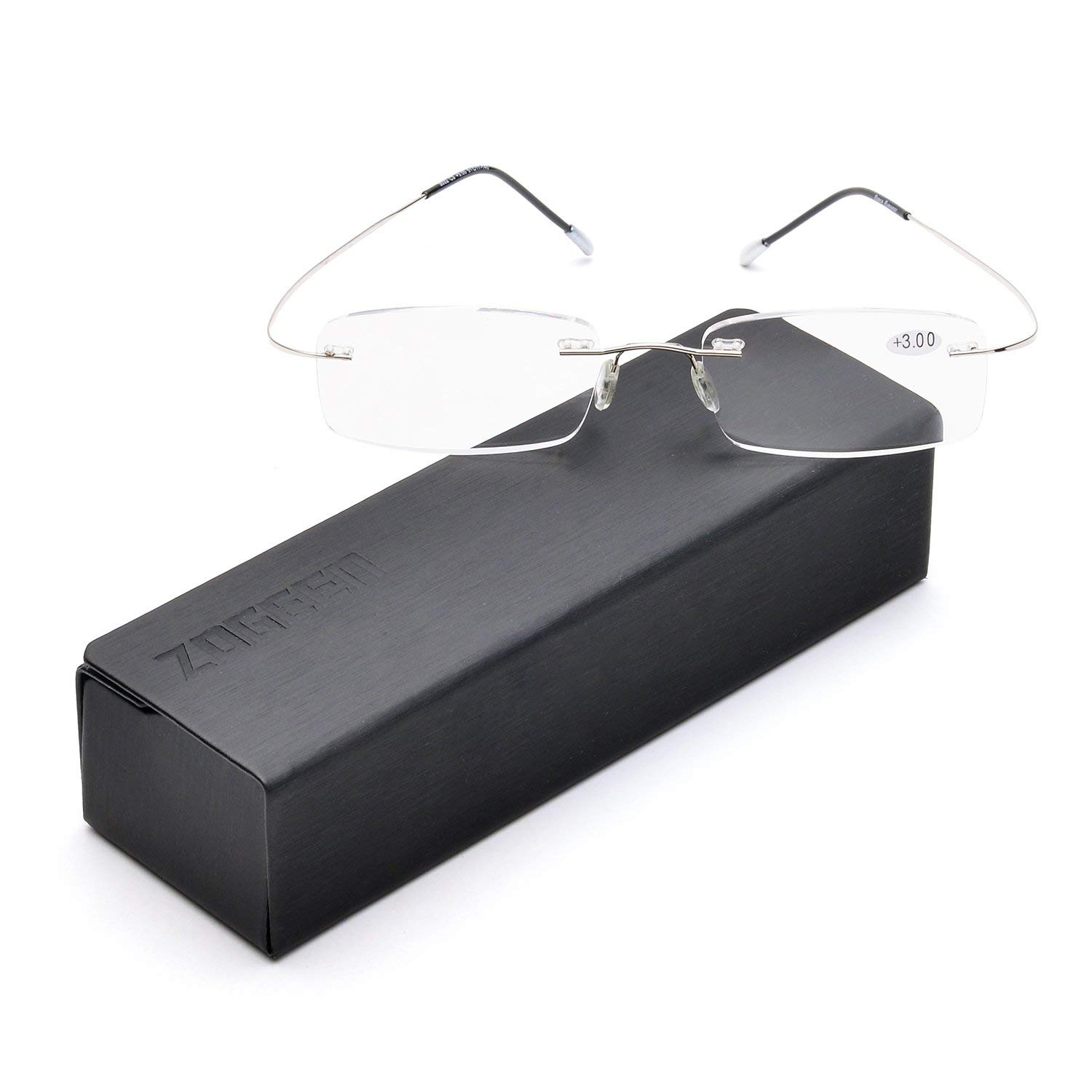 1669d42b0d4f Get Quotations · Memory Lightweight Titanium Stainless Steel Rimless  Reading Glasses with Light Lenses 1004