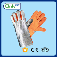 Heat resistant fire fighter long leather working safety glove with foil