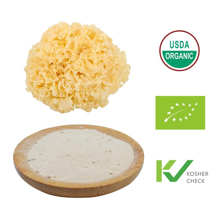 Source bulk OEM private label organic USDA EEC Kosher certificate Tremella fuciformis fruit body mushroom powder products