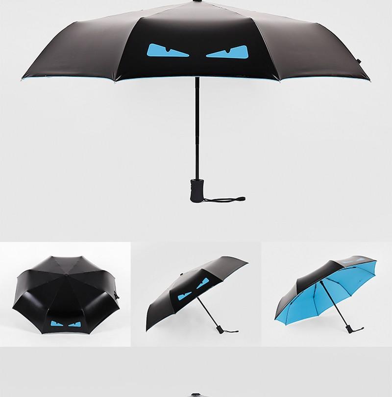 1ea6773260 Fashion Cartoon Demon Children Umbrella Automatic Sunny Umbrella Rain Women  Black Coating Anti UV Kids 3 Folding Parasol