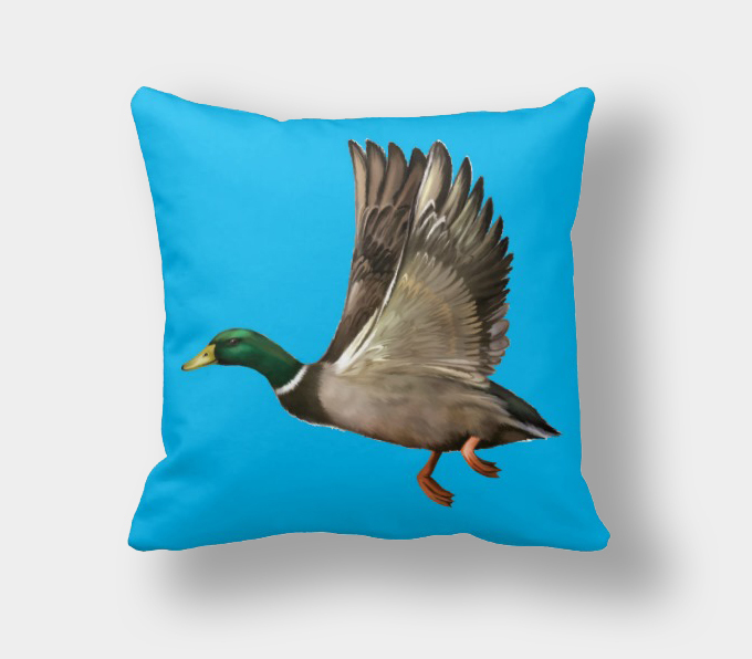 Coral Turquoise Orange Navy Blue Decorative Bird Pillows