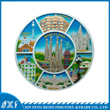 Home Deco Country Souvenir Resin Round Decorative Plate for Tourist