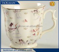 Wholesale Cute Christmas Snowman Porcelain Coffee Mug Ceramic Cups