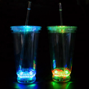 Popular night club party 16OZ plastic PS Acrylic flashing led light cup
