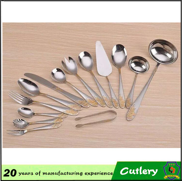 5% OFF bulk cheap custom logo gold plated handle polishing Flatware/dinnerware set / tableware sets/5 pcs Sets(HH-spoon-189)