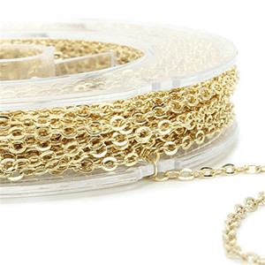 Wholesale 33 FT Gold Plated Solid Brass chain roll jewelry chain for Jewelry Making
