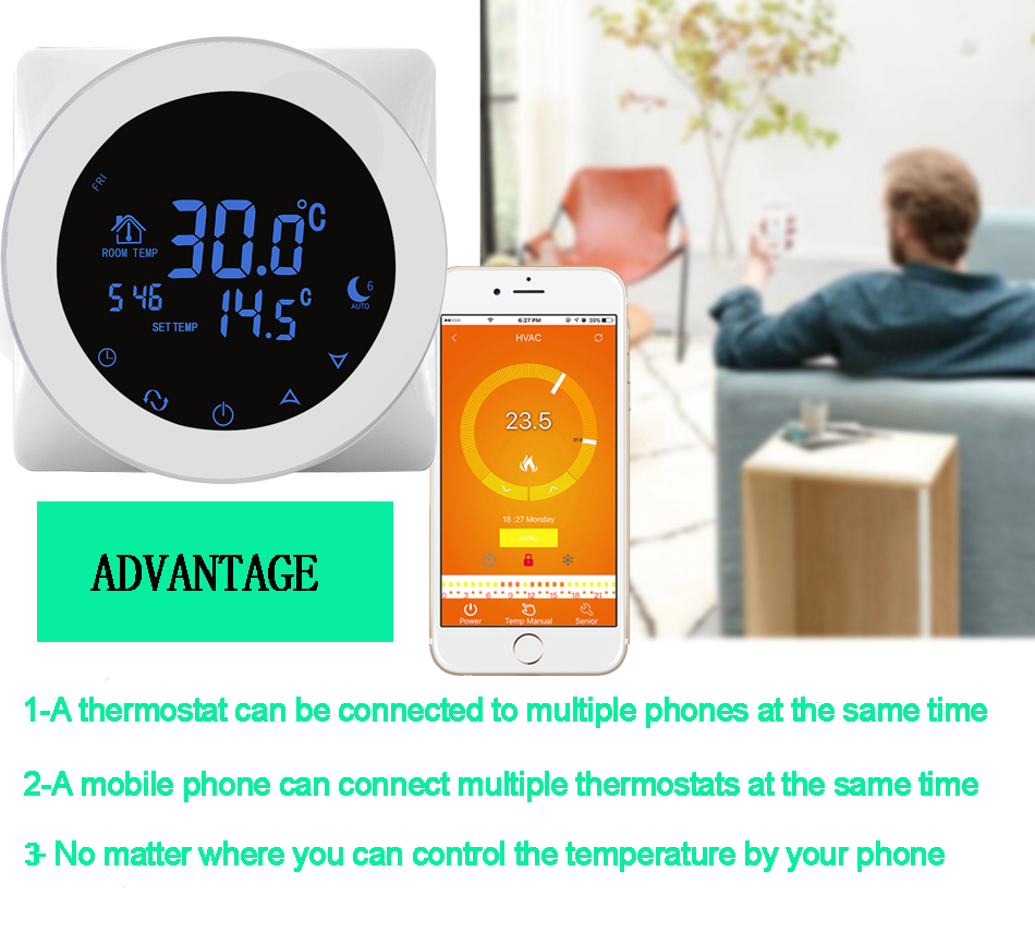 WIFI Thermostats LCD Touch Screen Temperature Controller Regulator Programming Heating Thermostat Floor Heating Electric Heater