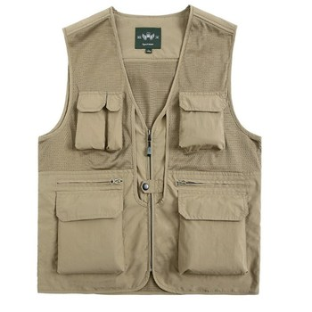 Outdoor Breathable Custom Photographer Vest Jacket for Men with Many Pockets