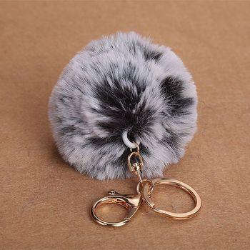 2018 Two-color gradient Fluffy Fur Ball  Car Driving Handbag Key Chain For Woman