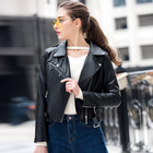 Ladies Sheepskin Jacket Wholesale Autumn Short Motorcycle Ladies Sheepskin Jacket Black Color Woman Pu Leather Jacket