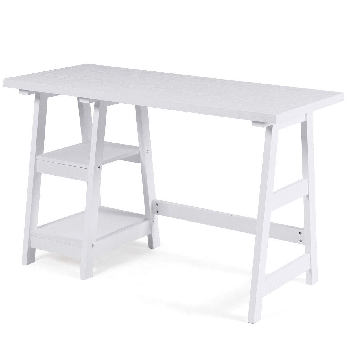 Modern Computer Desk Writing Laptop Table Trestle with 2 Open Tiers Shelves White
