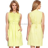 Yellow Fashion Women Dresses,Best Selling High Quality Pure Cotton Dress, Women Dress Cheap Price