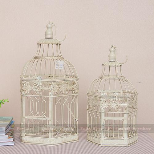 set of 2 large wedding decoration bird cage distressed home decor metal cage european ivory. Black Bedroom Furniture Sets. Home Design Ideas