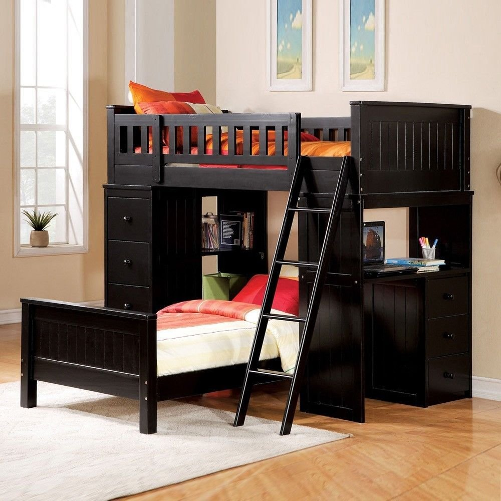 1PerfectChoice Willoughby Youth Kids Twin Loft Bed Bottom Bed Storage Chest Workstation Black