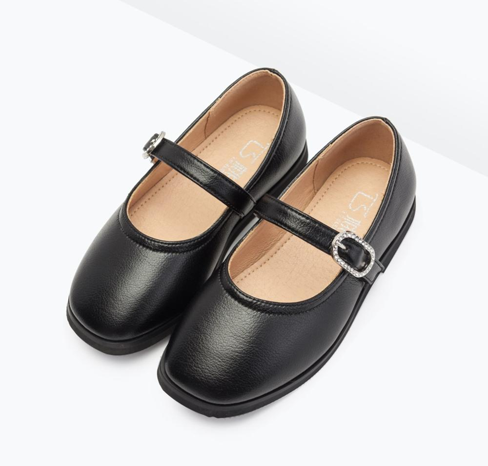 Best quality comfortable leather black kids girl dress school <strong>shoes</strong> with rhinestone