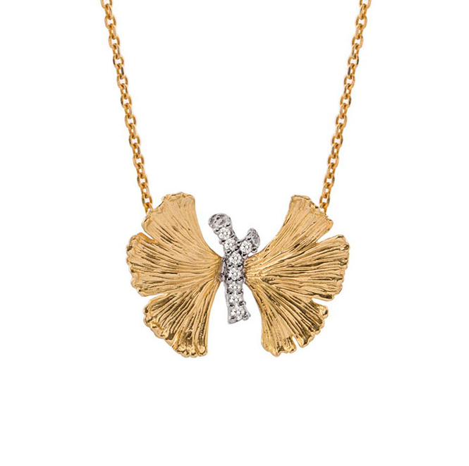 18K Gold Plated Silver Butterfly Shape Pendant Necklace with CZ Stones
