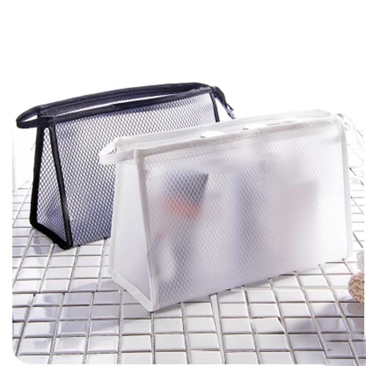 BSCI 공장 휴대용 여행 워시 파우치 도매 메쉬 나일론 통해 디자인 화장품 가방 개인 로고 여성 메이크업 키트