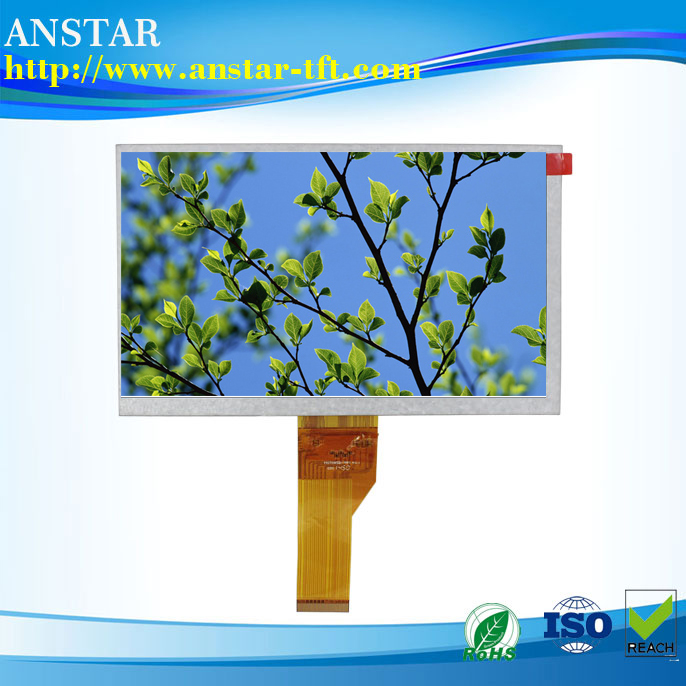 LVDS 7.0 inch tft with 40pins LCD display with ultra high pixel of 1024 * 600