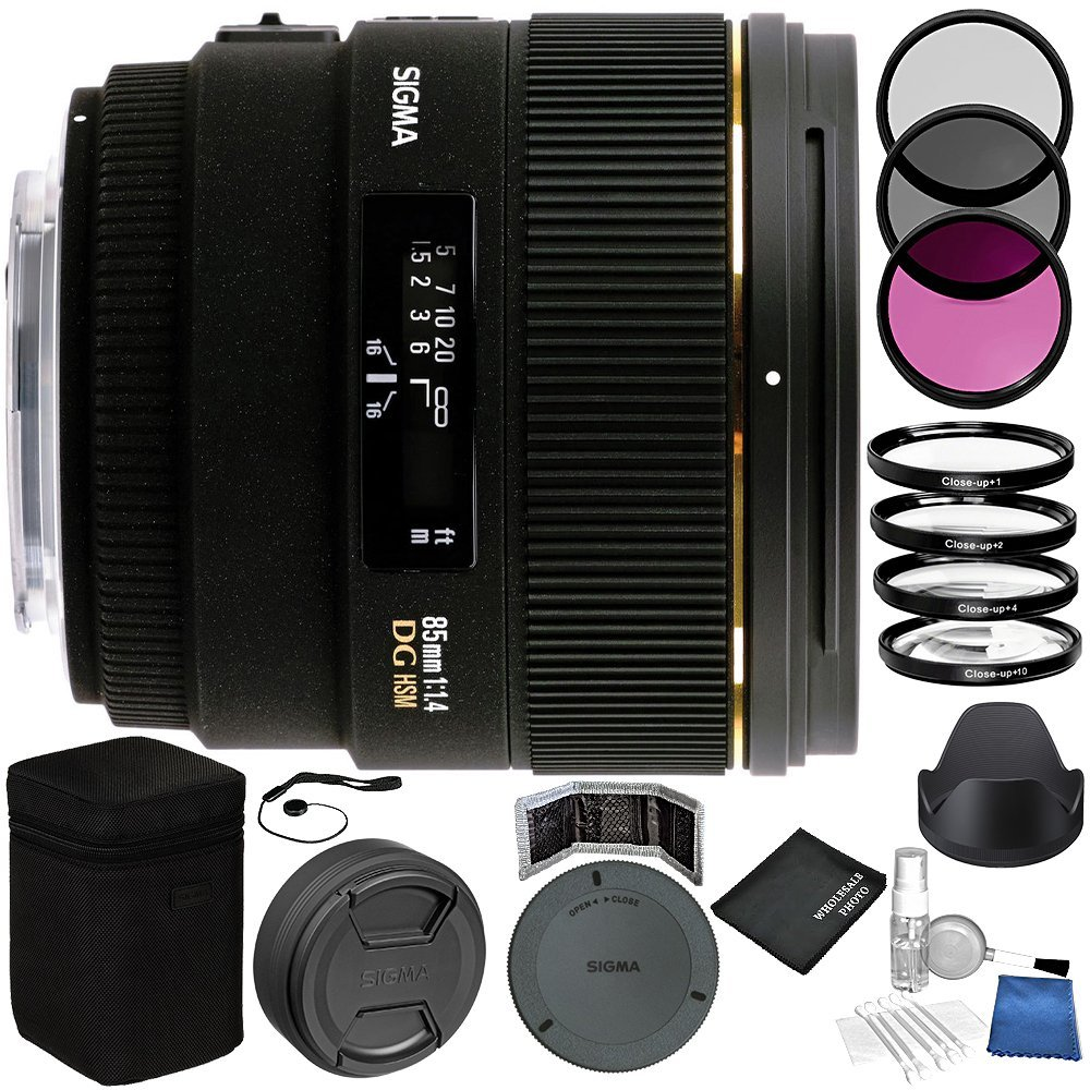 Sigma 85mm f/1.4 EX DG HSM Lens For Nikon Digital SLR Bundle with Manufacturer Accessories & Accessory Kit (24 Items)