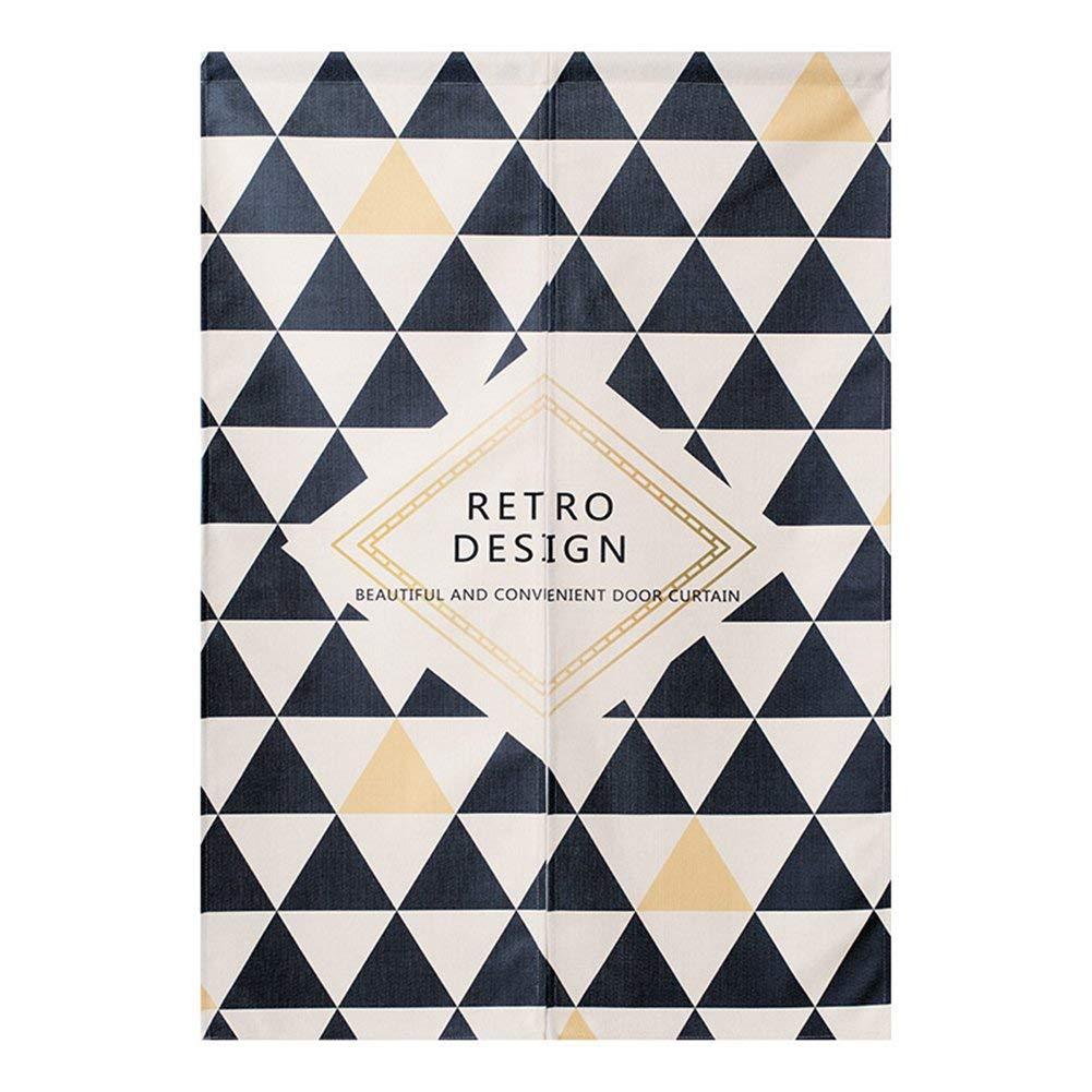 "BAIHT Noren Japanese Doorway Curtain Tapestry Cotton Linen Modern Geometric Wall Decor Door Divider 29.5"" Width x 47.2"" Long, Black Triangle"
