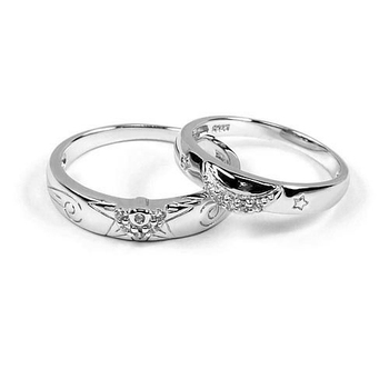 Jz-453 Sterling Silver Sun And Moon Designs Korean Style High Quality  Couple Rings - Buy Korean High Quality Couple Rings,Sun And Moon Design