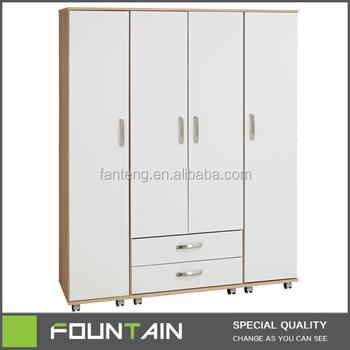 Fashion Designed Gloss White 4 Doors And 2 Drawers Wheels Furniture Melamine Home Wardrobe Closet