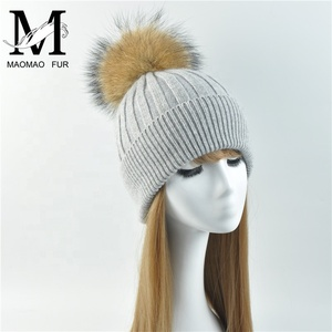 5ba25f78154 Ladies Wool Angola Real Raccoon Fur Pom Pom Knitted Beanie Cap Winter Hat  Women Fashion Wholesale
