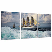 Seascape Canvas Wall Art/3 Pieces Sailing Vessel Sailboat Canvas Print on Canvas/Ocean Wave Picture Giclee Art Print