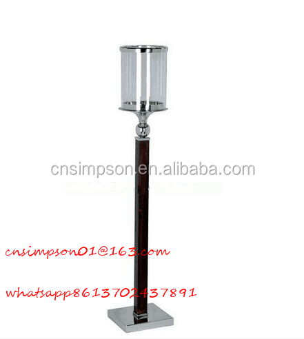 black glass candle holder with metal pillar for decoration