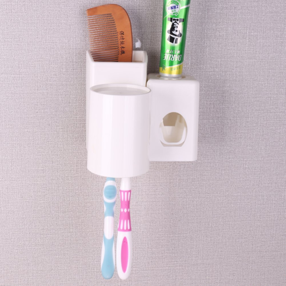 HCP Creative wall Toothbrush shelf Automatic toothpaste Suction wall brushing cup Toothpaste extruder Toothbrush holder-A