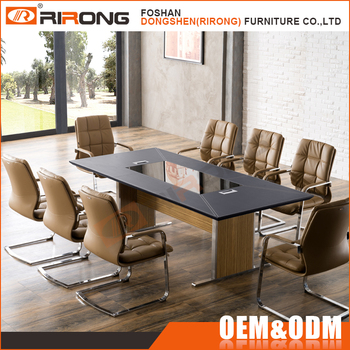 Luxury Office Furniture Decoration Black Tempered Glass Top Leather - Glass top conference room table