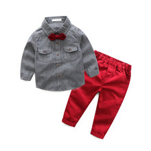 children gentleman design boy fashion suit boy clothing set baby formal suit with bow tie and long pants