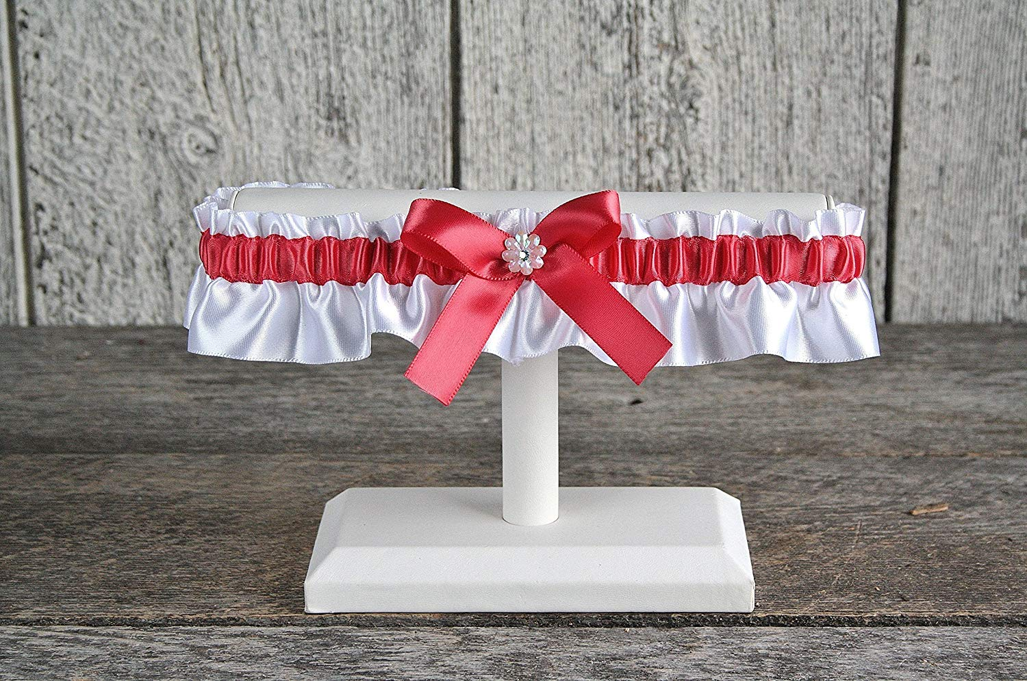 6a3ae018e25 Get Quotations · Coral and white satin wedding garter with iridescent  flower and rhinestone