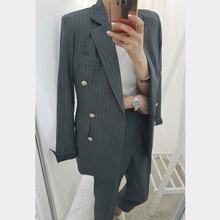 Женский офисный костюм BGTEEVER, двубортный облегающий блейзер и брюки-карандаш, комплект из 2 предметов(Китай)