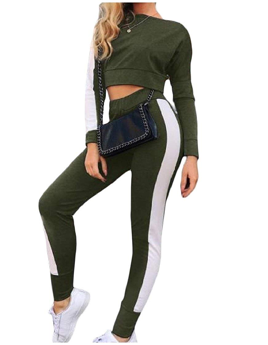 8702c77d4 Get Quotations · DressU Women's Casual Stitching Sexy Athletic Crop Tops  and Pants Outfit