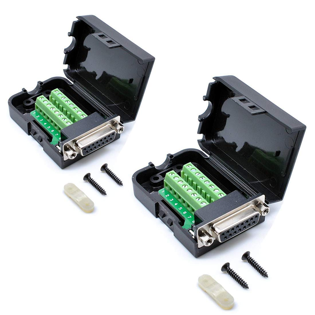 Oiyagai 2pcs DB15 Female 15Pin Connector Adaptor with Nut Terminal Breakout Board Free Welding
