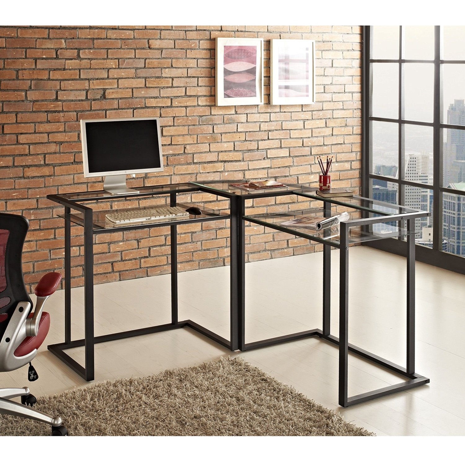 Glass and Metal Corner Computer Desk; L Shaped Computer Desk; This Clear Glass Corner Desk Has a Strong Black Steel Frame; a Glass Computer Desk with Shelves,style, and Function; Modern Computer Desk;