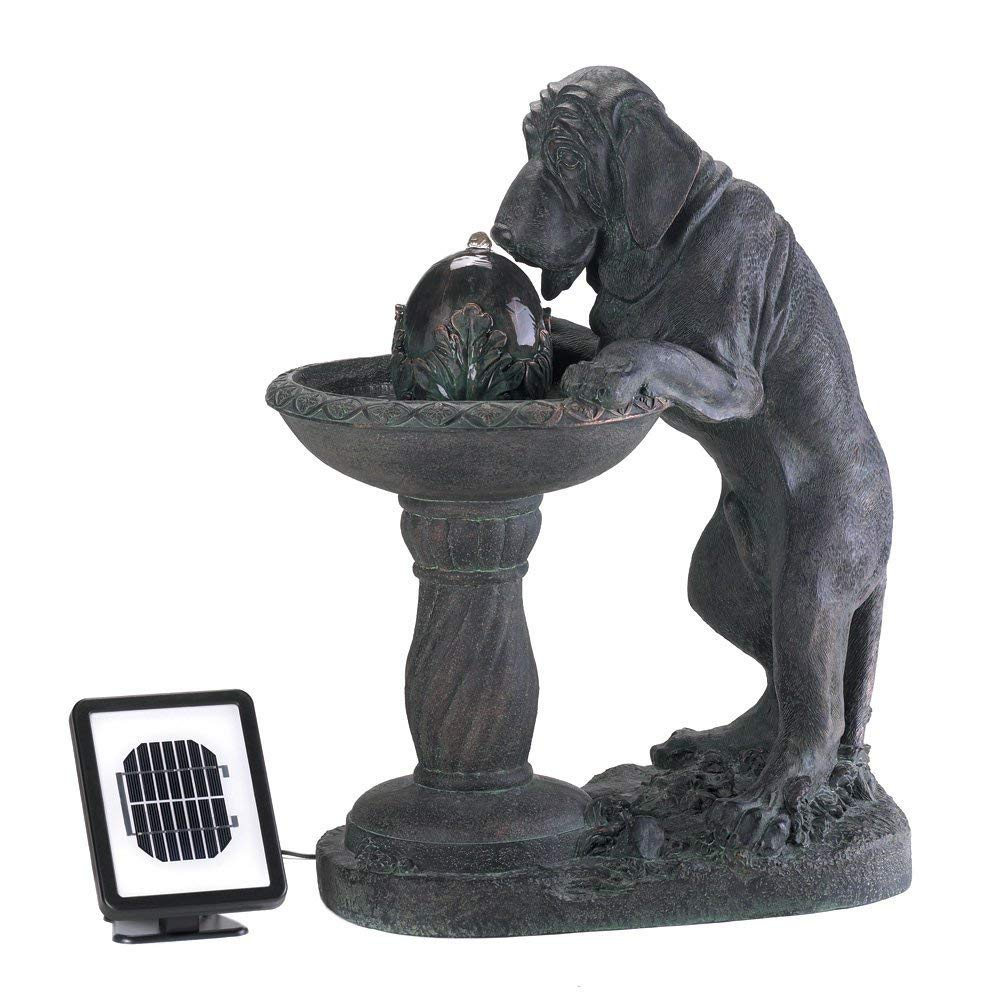 BESTChoiceForYou Thirsty Dog Solar Fountain, Thirsty Dog Faux Garden Solar Water Fountain, Solar Fountain Dog Thirsty Garden Water Outdoor Yard Decor Fountains Power Pump Electric And Panel Adorable