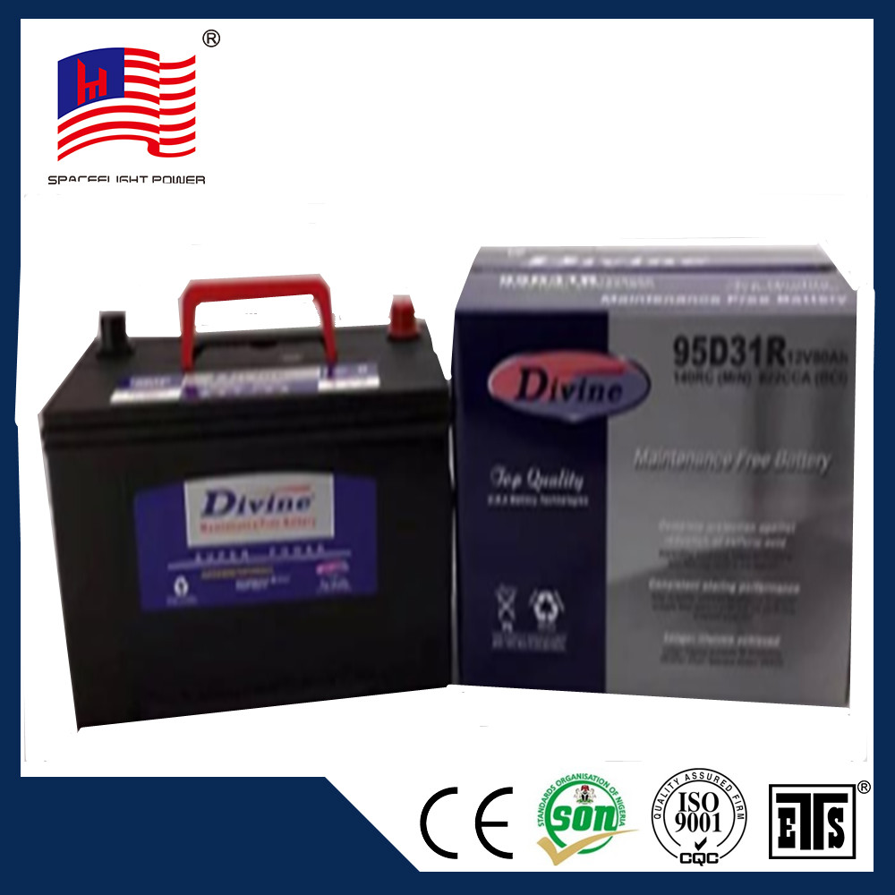 manufacturer 95d31 quick start giant power japanese 12v 80ah mf car battery 6-qw-80