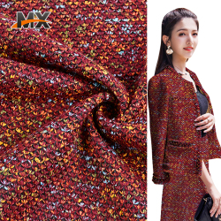 Latest design fashion plain dyed 100 polyester tweed knit cloth fabric for coats types