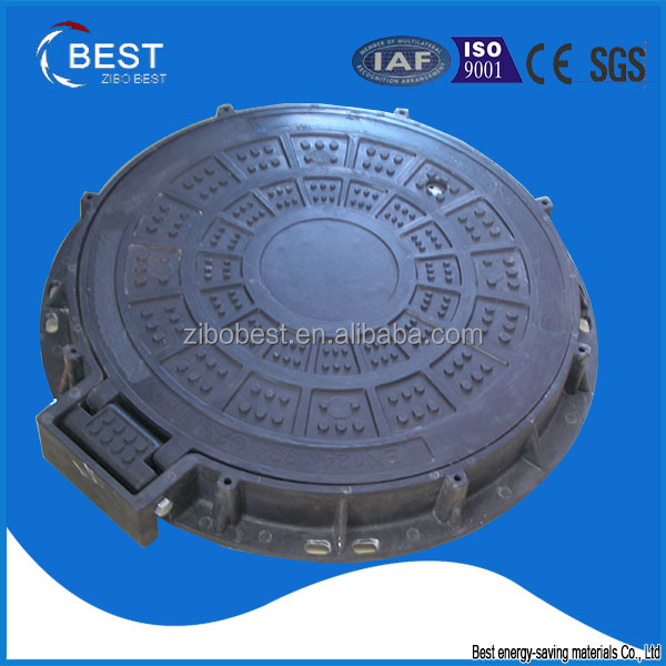 Zibo Best high quality ship used round frp hinged manhole cover and frame