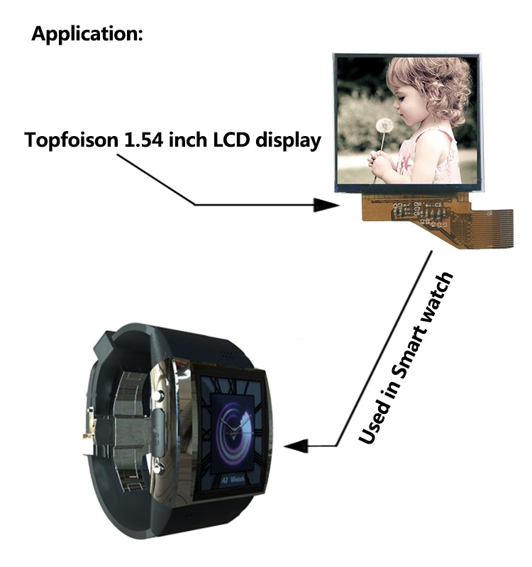 [Free sample] Topfoison 1.54 square touch panel 240*240 ips lcd panel wide lcd screen for smart watch