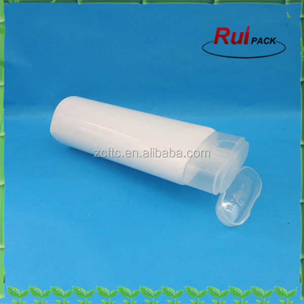 White oblate shape PE Sunscreen lotion tube packaging,Empty white PE tube with clear flip top cap