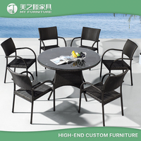 China Modern Leisure Ways Outdoor Garden Furniture Rattan 6 Seaters Dinning Table And Chair