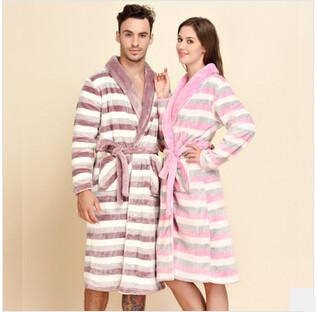 Осень зима женщина розовый бархат полоса утолщаются халаты мода любителей бархат одежды с ремень