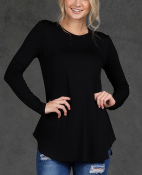 50a3c0839f7 women summer clothing suppliers cheap wholesale curved hem long sleeve  dressy plain black tunic tops